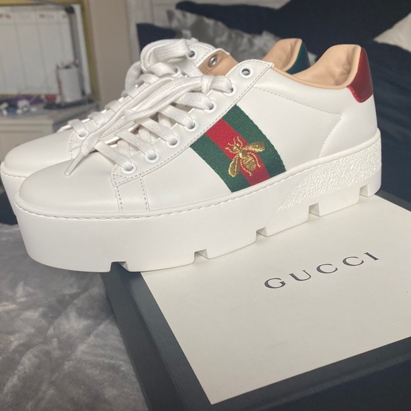 Gucci Womens Ace Embroidered Platform